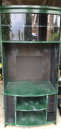 green and gray wooden TV hutch
