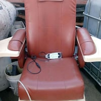 brown leather massage chair