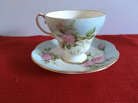 Rare Foley Bone China Tea cup & Saucer in Light Blue & little Pink Roses 717 km