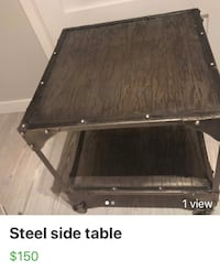 Steel side table with casters