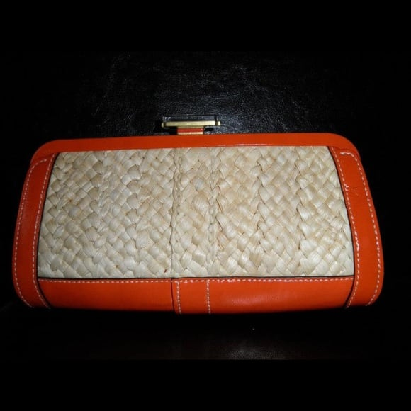COACH Limited Edition Orange Straw Clutch