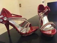 pair of red leather open-toe heels El Paso, 79905