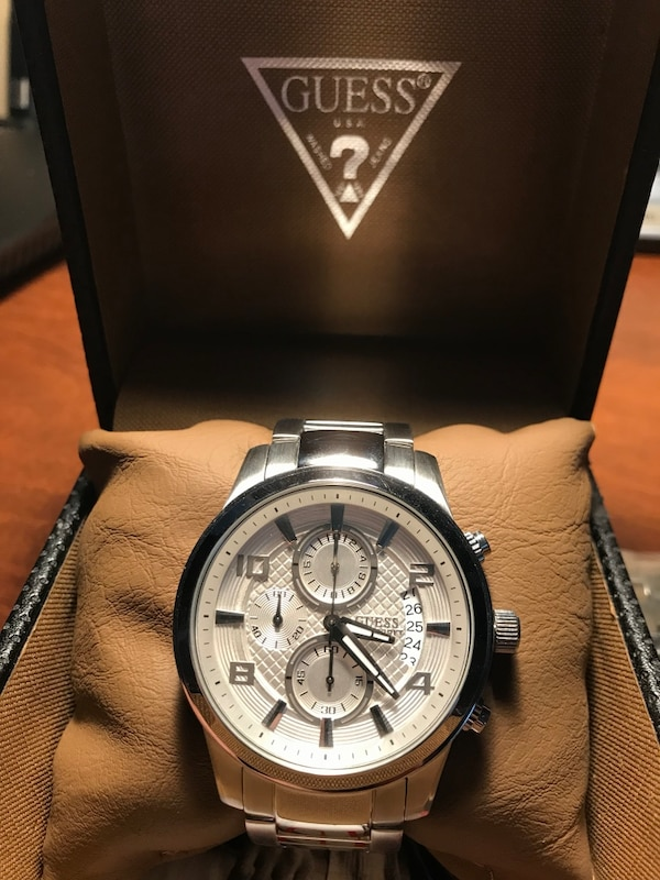 Silver chronograph authentic Guess watch