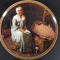 woman in blue long sleeve long dress sitting on windsor chair norman rockwell print decoratie plate Brentwood Bay, V8M 1A3
