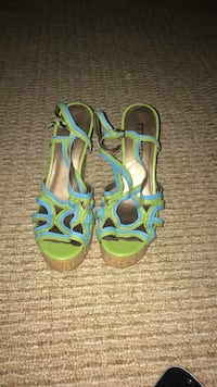 pair of green-and-blue sandals
