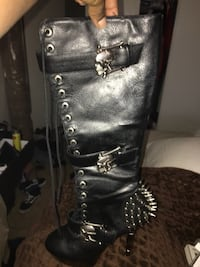 Black Leather Boots with Real Spikes Las Vegas, 89102