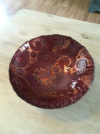 Metallic Red/Orange/Gold Glass Bowl