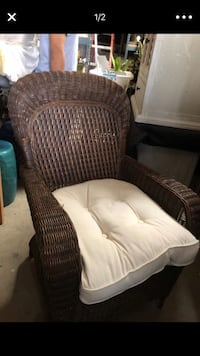 brown wooden framed white padded armchair Fullerton, 92833