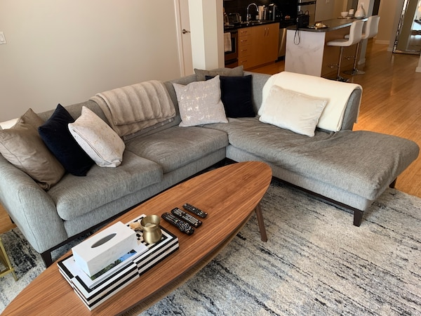 Grey modern sectional couch