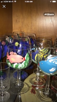 Hand painted fish wine glasses. I have 9 remaining Port Saint Lucie, 34953