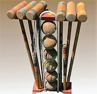 Vintage 25 Pc Wooden Croquet Set with Character Brampton
