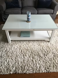 Rectangular white wooden coffee table w glass top Cypress, 90630