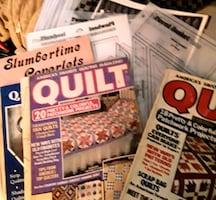 Quilting books and hard plastic pattern templates