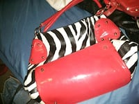 red and white leather shoulder bag 1400 mi