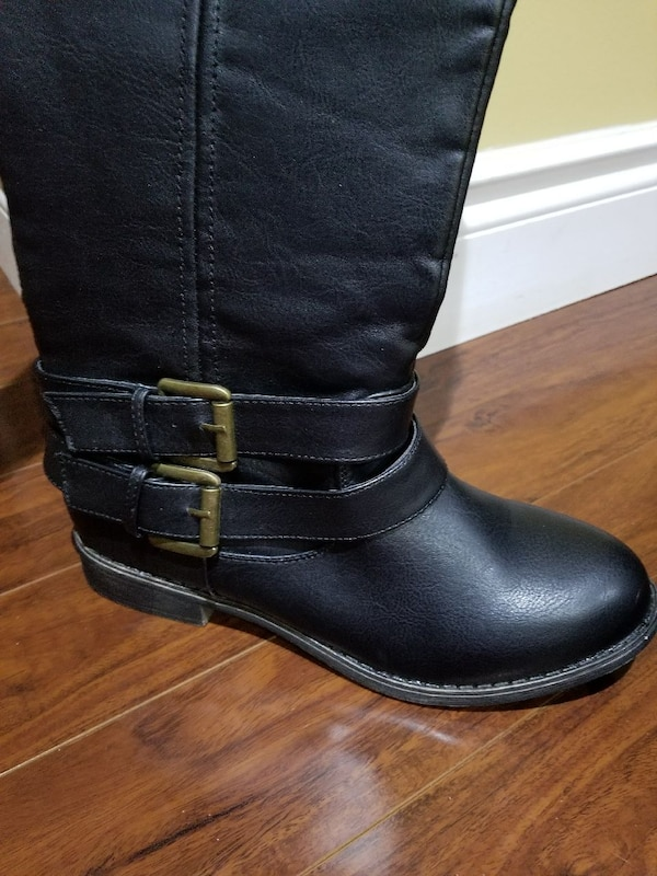 b998177c3ce Used New black leather round-toe knee-high boots for sale in Toronto ...