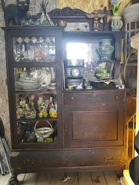 brown wooden cabinet with hutch Edmonton, T5R 5C6