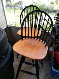 two black metal frame brown wooden windsor chairs DeLand, 32724