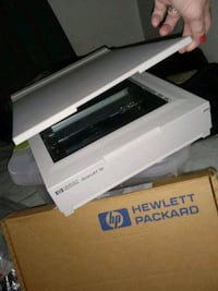 white and black HP printer