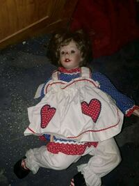 girl doll wearing white and red dress San Antonio, 78223
