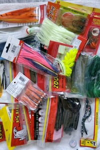 Lots of plastic worm baits, zoom,panfish assasin,kalina etc