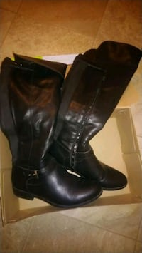 black leather boots size 8/half $45almost new