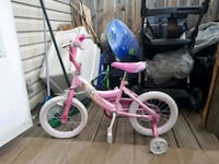 toddler's pink and white bicycle with training wheels Edmonton, T5L 2X2