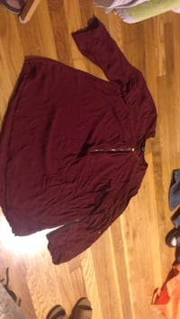 Maroon see through gold zipper long sleeve