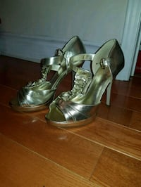 pair of gray leather open-toe ankle strap heels Pickering, L1V 6S8