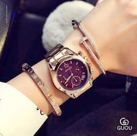 round silver-colored analog watch with brown leather strap City of Industry, 91744
