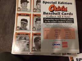 Set of crown orioles baseball cards