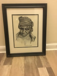 Artist C. Marsden-Huggins signed black and wooden framed painting of person with scarf on head Washington, 20020