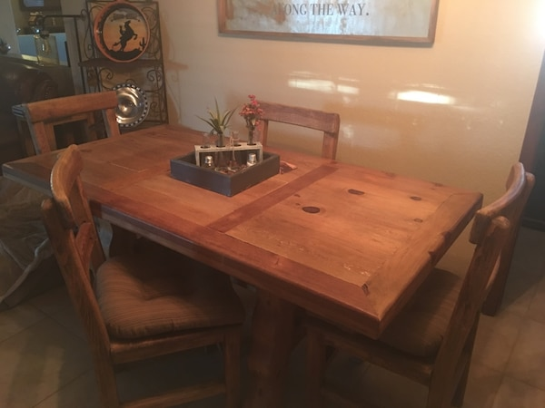 Solid Wood Dining Set with 4 chairs (cushions included)