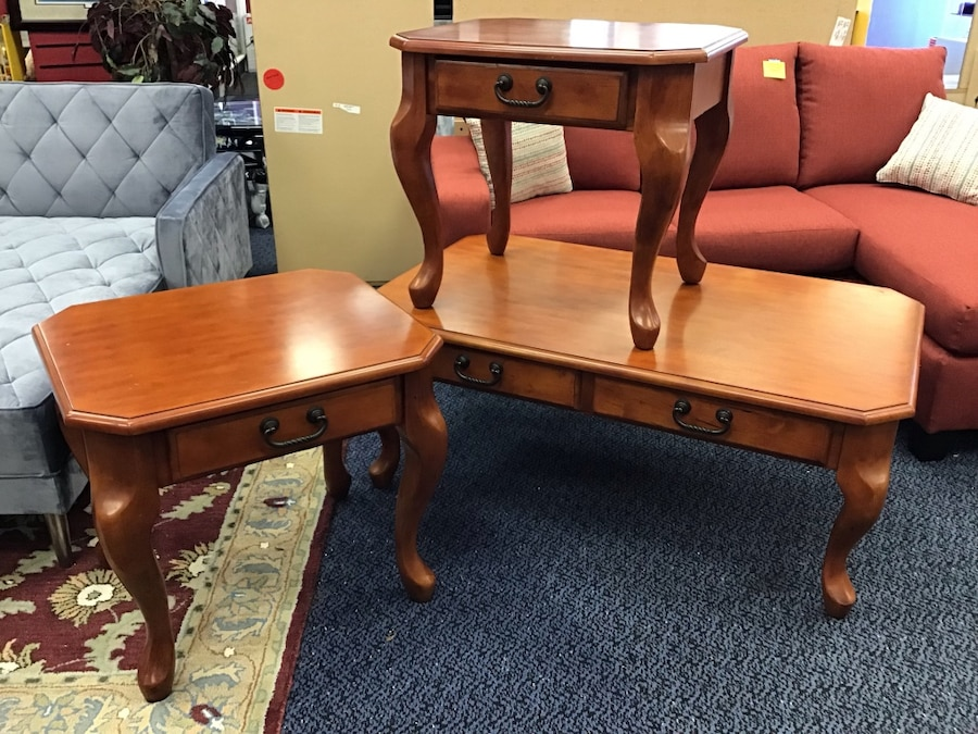3PC Solid Wood Coffee Table Set Cherry Wood