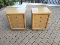Two brown wooden 3-drawer nightstands