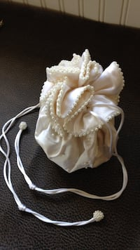 Purse Bridal drawstring ivory.