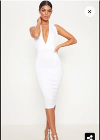NEW White bodycon midi dress pretty little thing v neck
