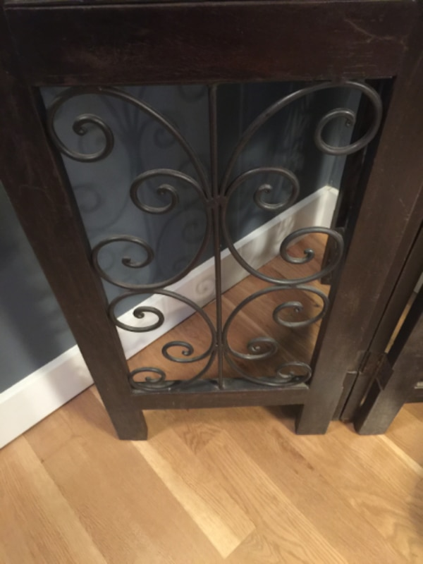 Very Heavy Dark Wood and Black Wrought Iron Four-Panel Room Divider! Gorgeous! 48e1ddd2-a9a1-4350-98eb-93be0b0fe146