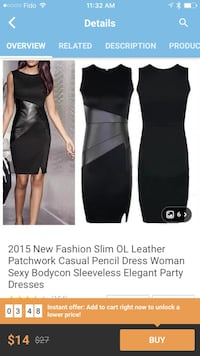 Women's black slim ol leather patchwork casual pencil dress Surrey, V3S 4P2