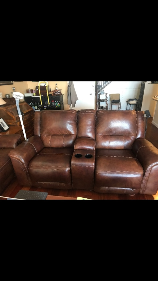 023e8c75b21f Used Brown leather home theater love-seats
