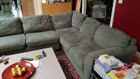 Sage Green Microfiber Sectional Sofa Good Shape