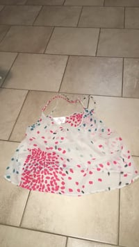 White, pink and blue polka dot tank top Burnaby, V5A 2L9