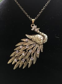 "Peacock necklace gold color 28"" chain Monticello, 55362"
