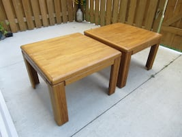 2 Solid Wood End Tables 27.5x27.5x19.5""
