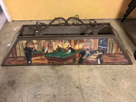 Pool table/ billiards glass light with vintage scenes.