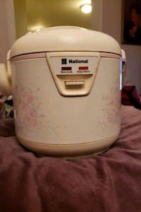 white and pink rice cooker