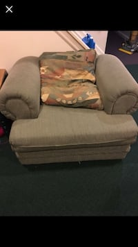 Gray and brown fabric sofa chair