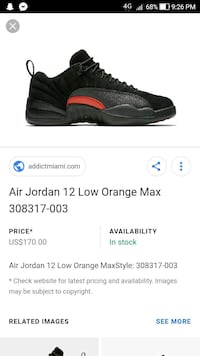 black and red Air Jordan 12 Low Orange Max shoe screenshot Dollard-des-Ormeaux, H9B 2A1