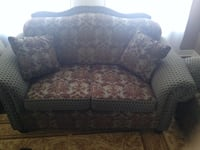 Damask style - Brown and Blue 3-piece Sofa Set + 4 pillows Oakville