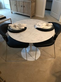 Round Marble Tulip Table & 2 Black Leather Chairs  Malvern, 19355