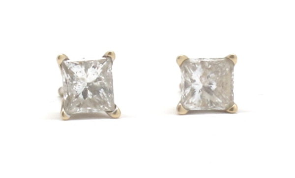 14K Square-Cut Diamond Earrings